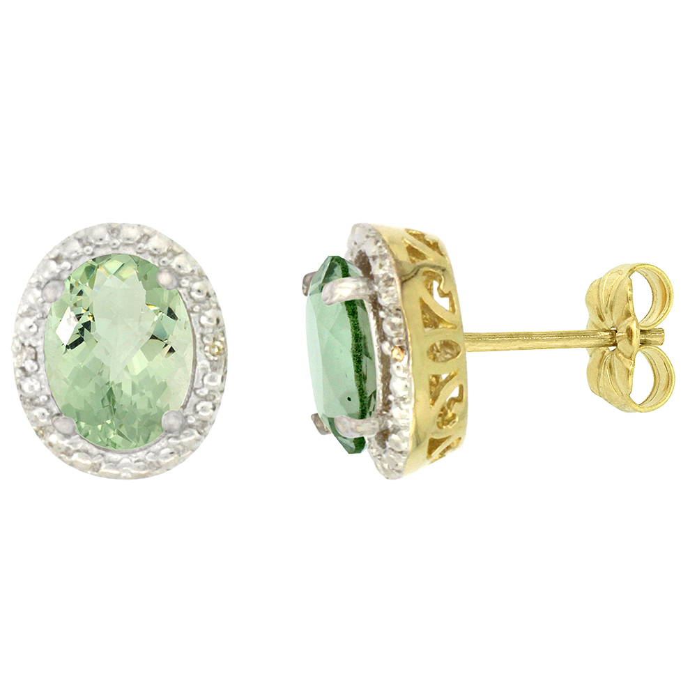 10K Yellow Gold 0.01 cttw Diamond Natural Green Amethyst Post Earrings Oval 7x5 mm