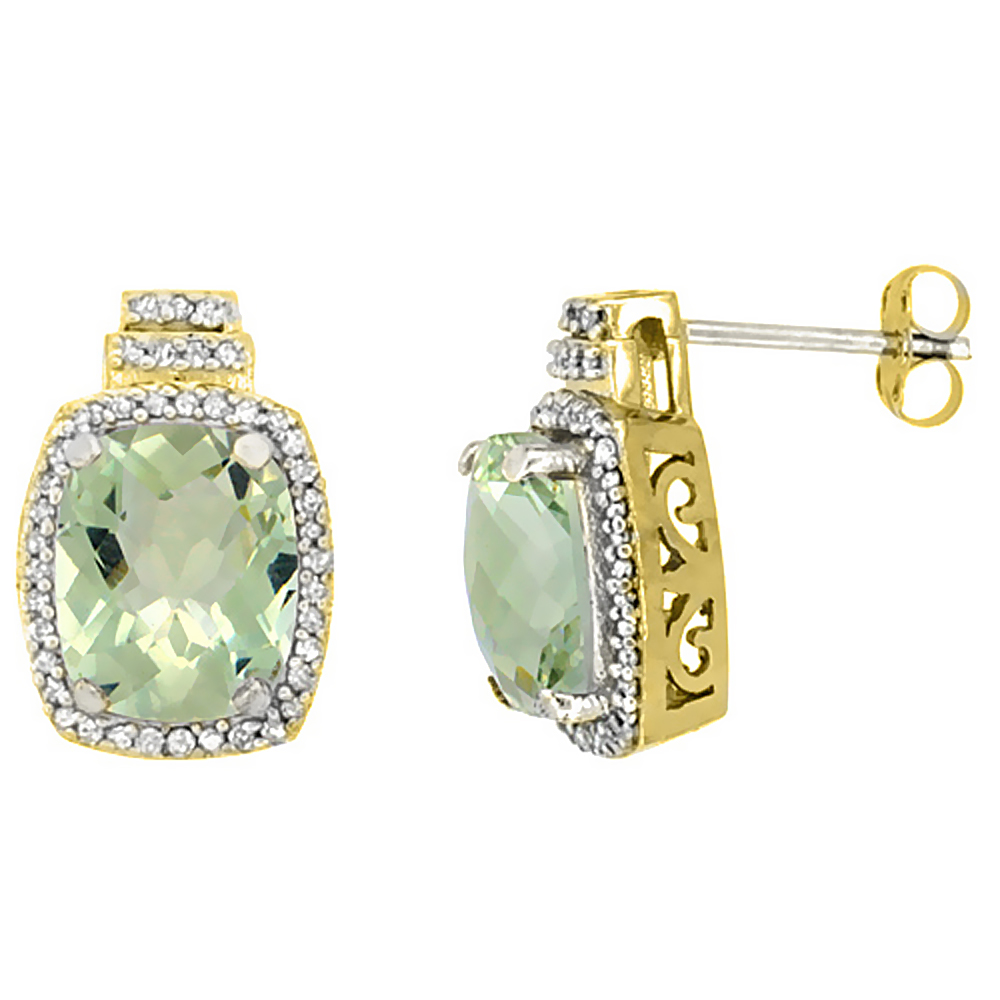 10K Yellow Gold 0.29 cttw Diamond Natural Green Amethyst Earrings Octagon Cushion 8x6 mm