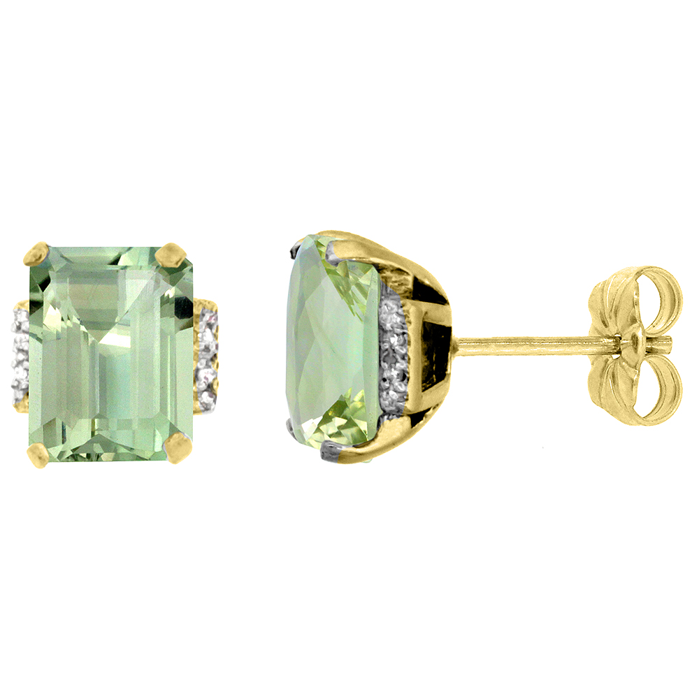 10K Yellow Gold 0.02 cttw Diamond Natural Green Amethyst Earrings Octagon 8x6 mm