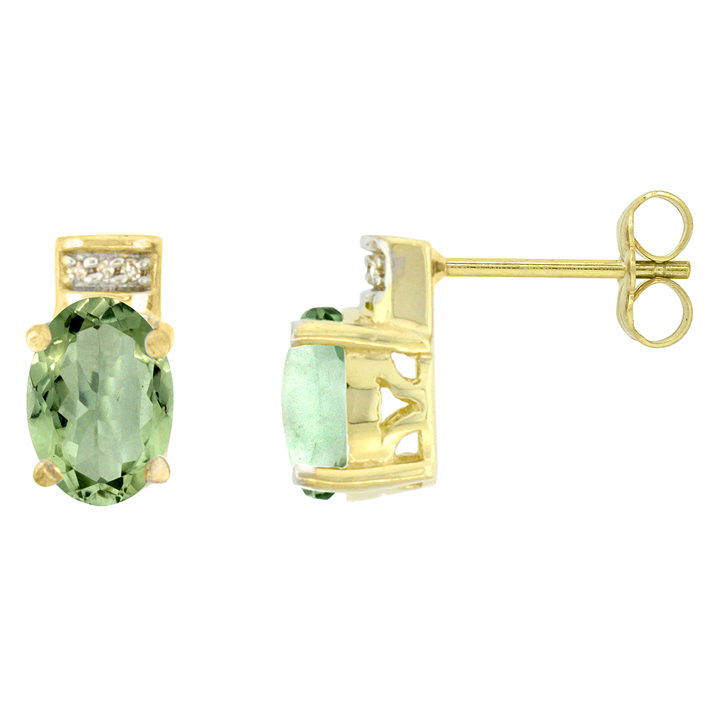 10K Yellow Gold Diamond Natural Green Amethyst Earrings Oval 8x6 mm