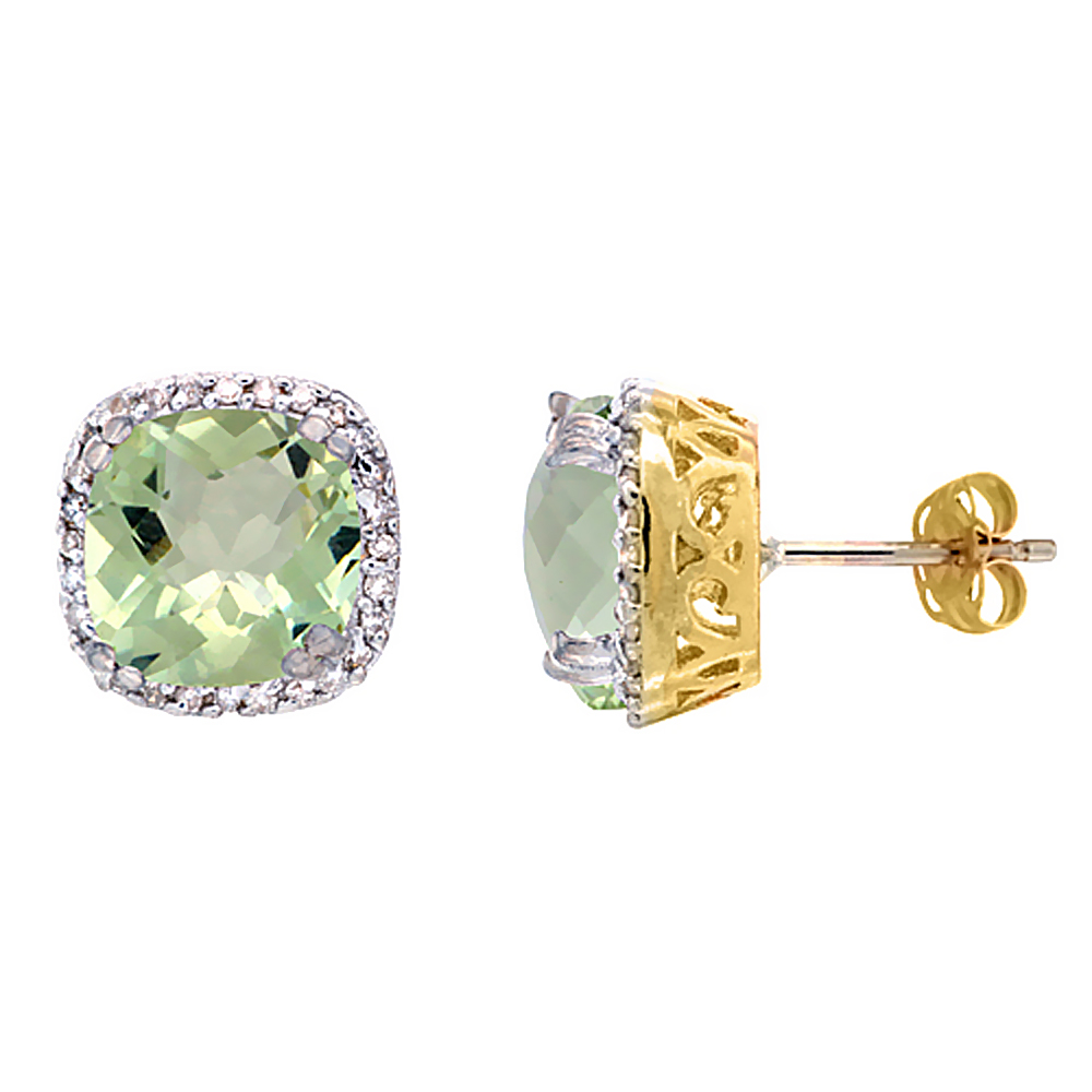 10k Yellow Gold Diamond Halo Natural Green Amethyst Stud Earrings Cushion Shaped 7x7 mm