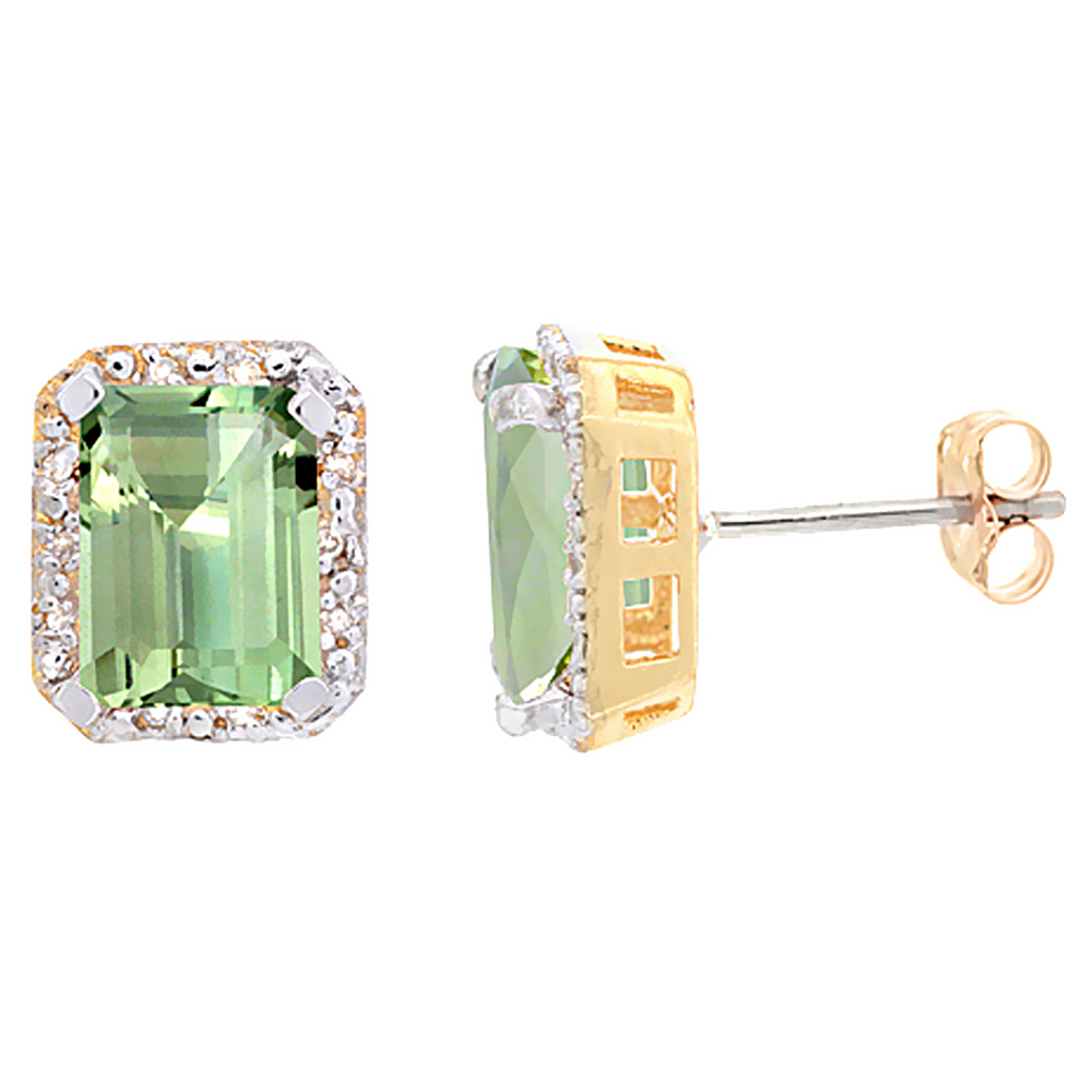 10K Yellow Gold Diamond Natural Green Amethyst Earrings Octagon 8x6 mm