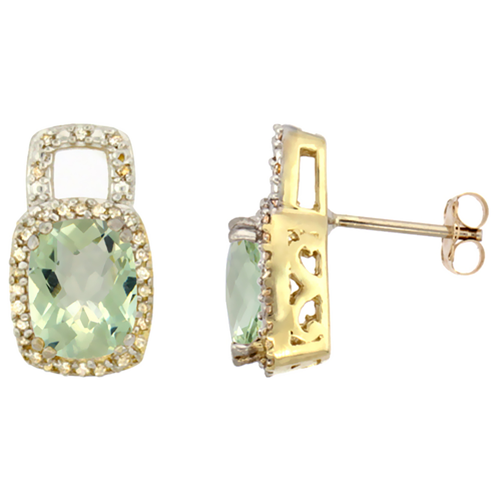 10K Yellow Gold Diamond Natural Green Amethyst Earrings Octagon Cushion 8x6 mm