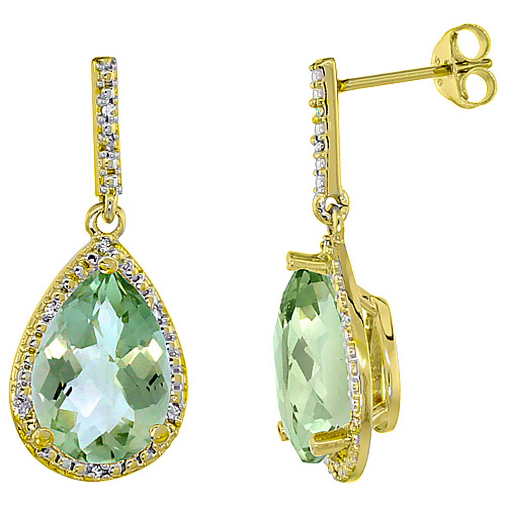 10K Yellow Gold Diamond Natural Green Amethyst Earrings Pear Shape 12x8 mm