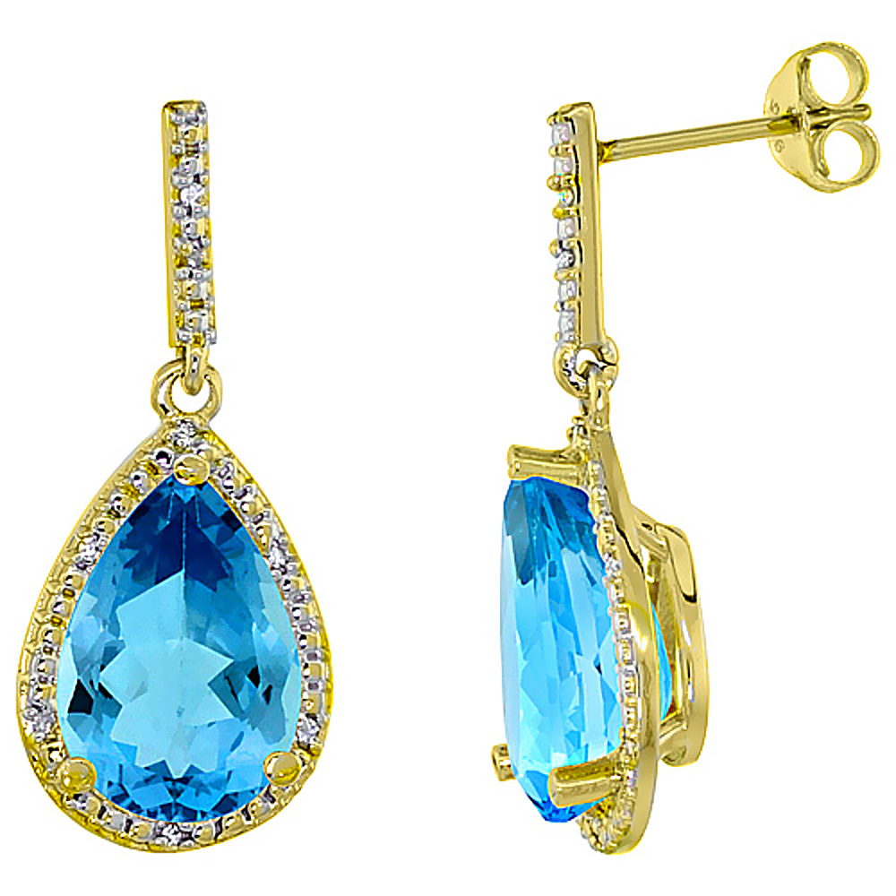 10K Yellow Gold Diamond Halo Natural Swiss Blue Topaz Dangle Earrings Pear Shaped 12x8 mm