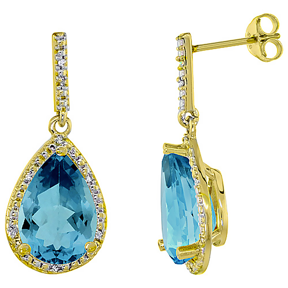 10K Yellow Gold Diamond Halo Natural London Blue Topaz Dangle Earrings Pear Shaped 12x8 mm