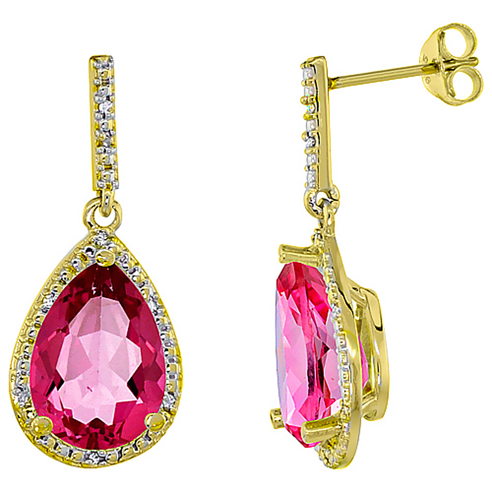 10k Yellow Gold Diamond Halo Natural Pink Topaz Dangle Earrings Pear Shaped 12x8 Mm