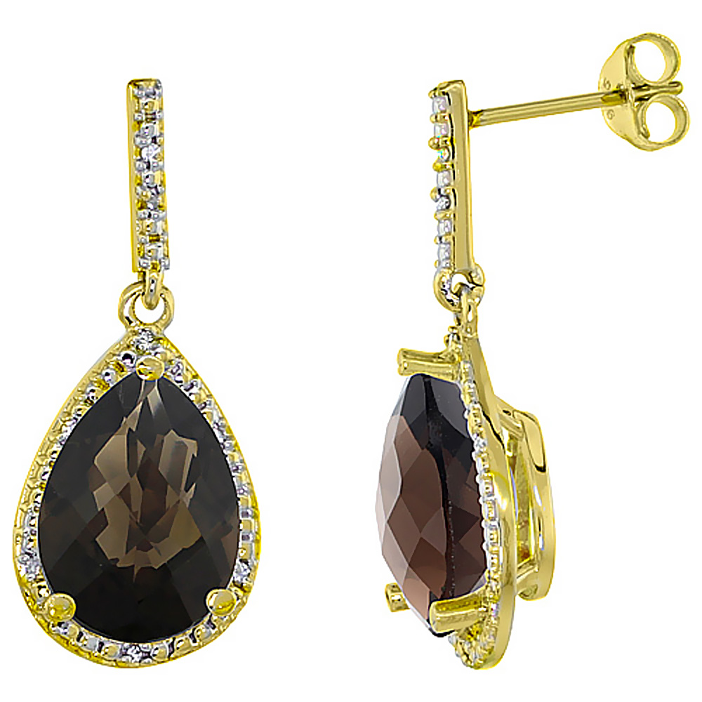 10K Yellow Gold Diamond Halo Natural Smoky Topaz Dangle Earrings Pear Shaped 12x8 mm