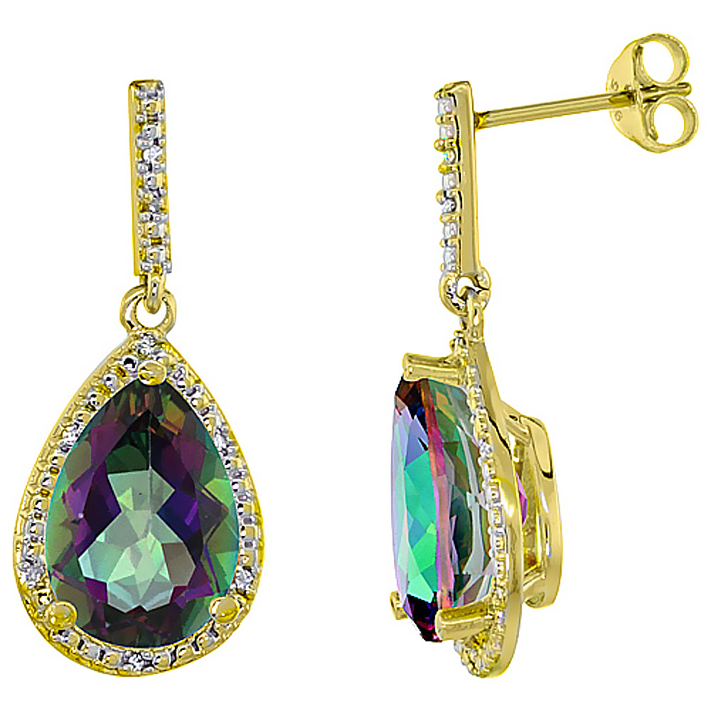 10K Yellow Gold Diamond Halo Natural Mystic Topaz Dangle Earrings Pear Shaped 12x8 mm