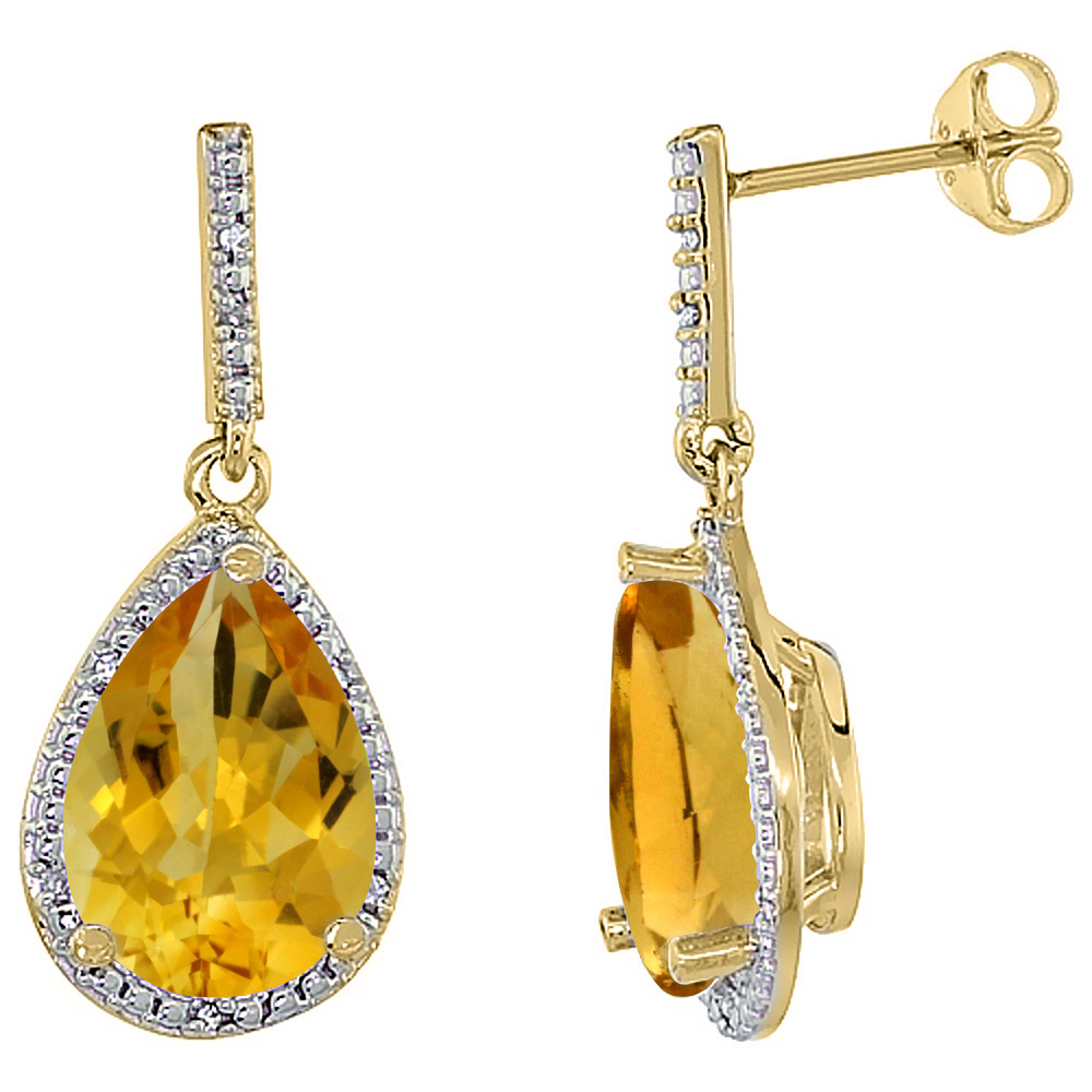 10K Yellow Gold Diamond Natural Citrine Earrings Pear Shape 12x8 mm