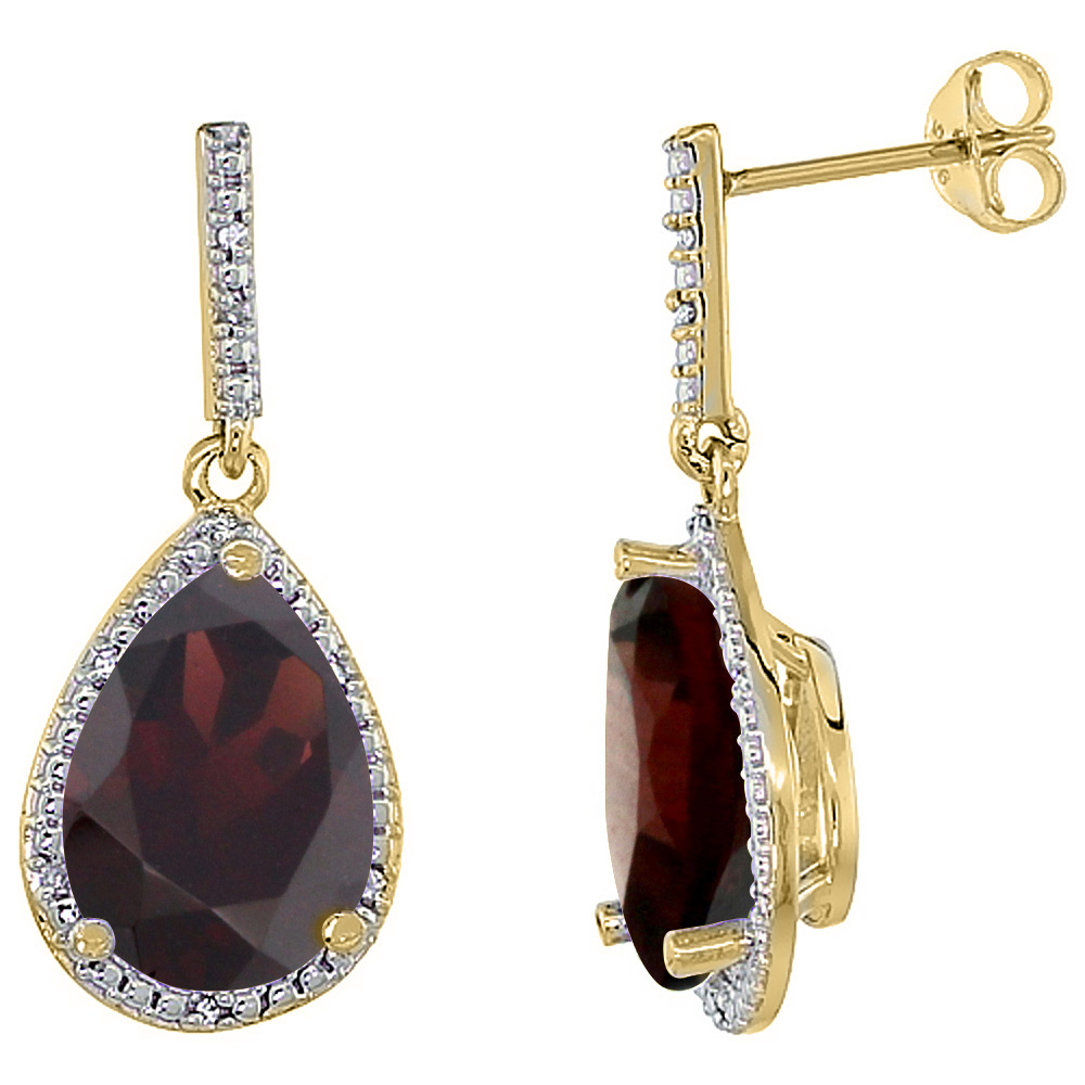 10K Yellow Gold Diamond Natural Garnet Earrings Pear Shape 12x8 mm