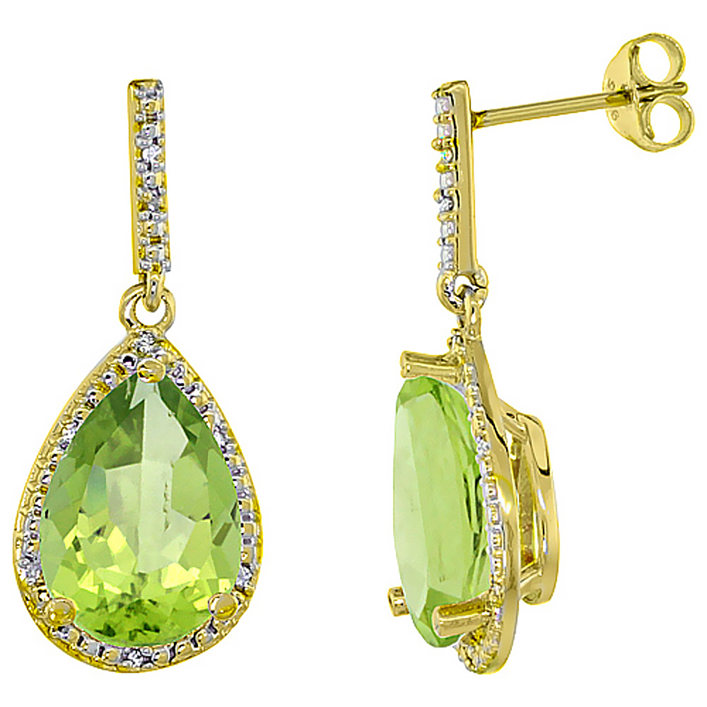10K Yellow Gold Diamond Halo Natural Peridot Dangle Earrings Pear Shaped 12x8 mm