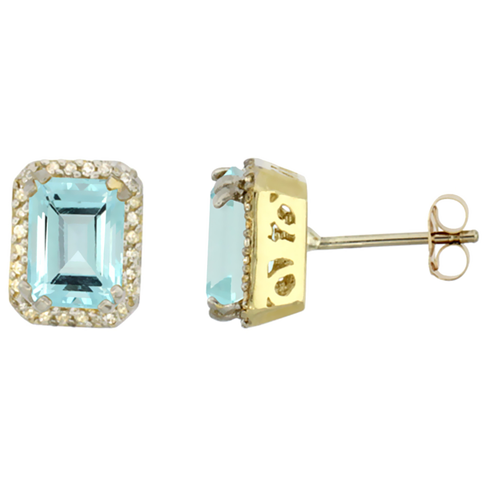 10K Yellow Gold Diamond Natural Aquamarine Earrings Octagon 7x5 mm