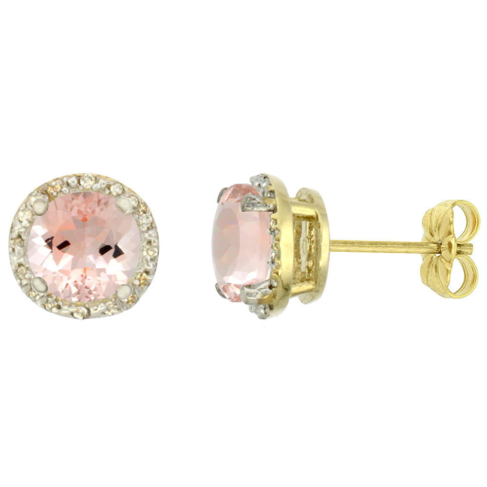 10K Yellow Gold Diamond Natural Morganite Earrings Round 7x7 mm