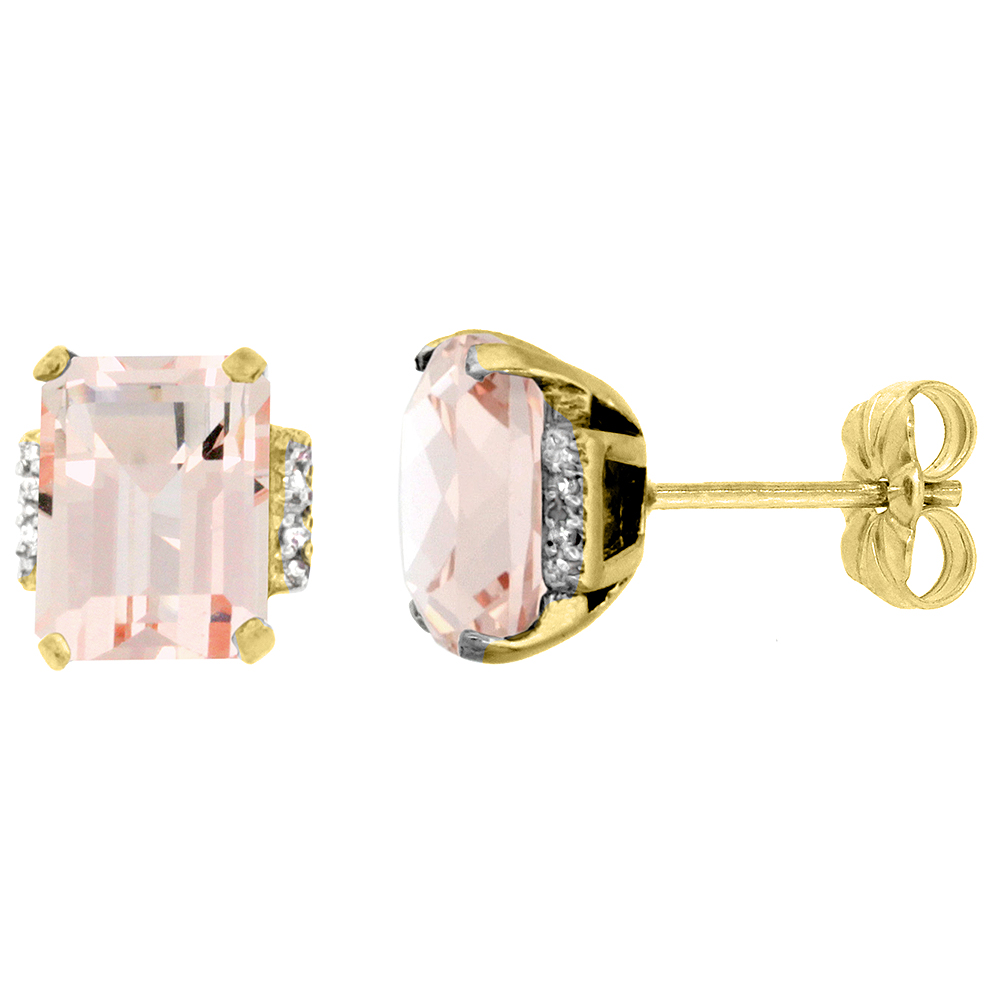 10K Yellow Gold Diamond Natural Morganite Earrings Octagon 8x6 mm