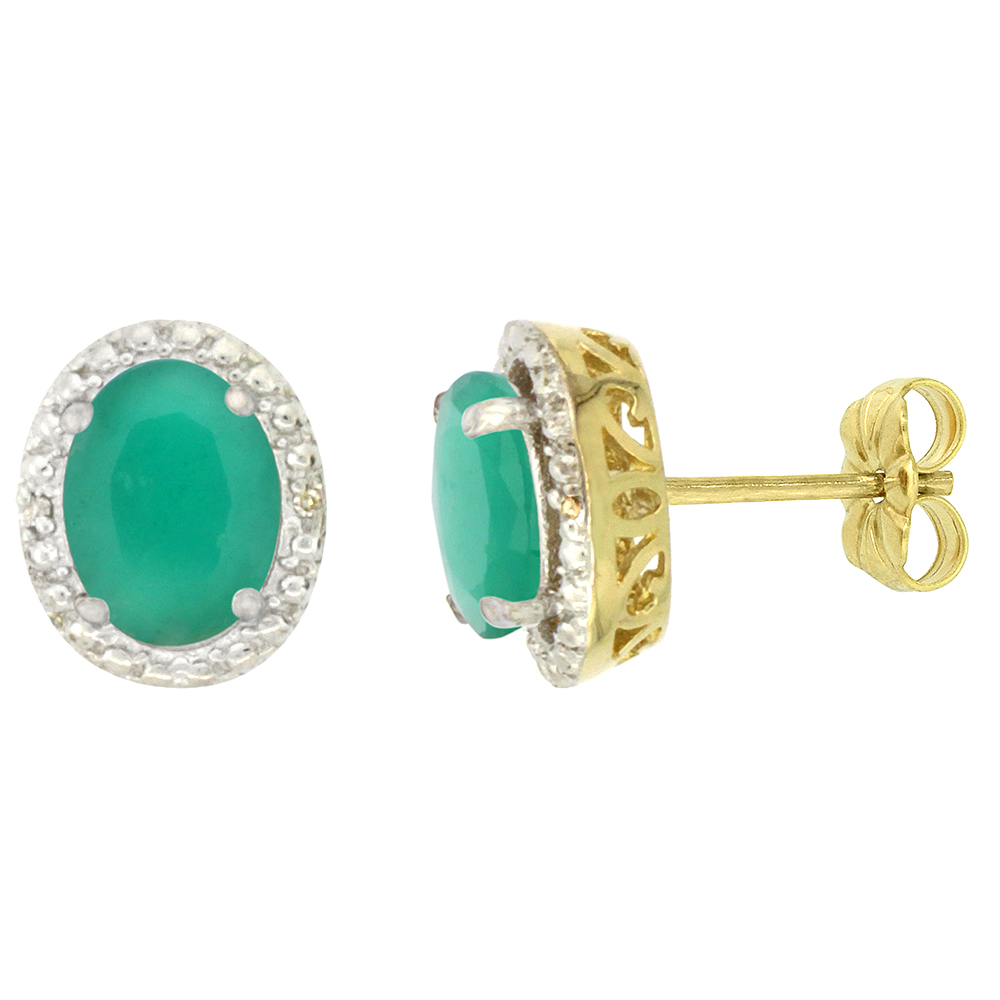 10K Yellow Gold 0.01 cttw Diamond Natural Cabochon Emerald Post Earrings Oval 7x5 mm