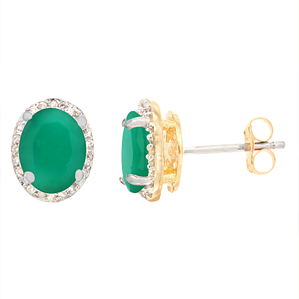 10K Yellow Gold Diamond Natural Cabochon Emerald Earrings Oval 7x5 mm