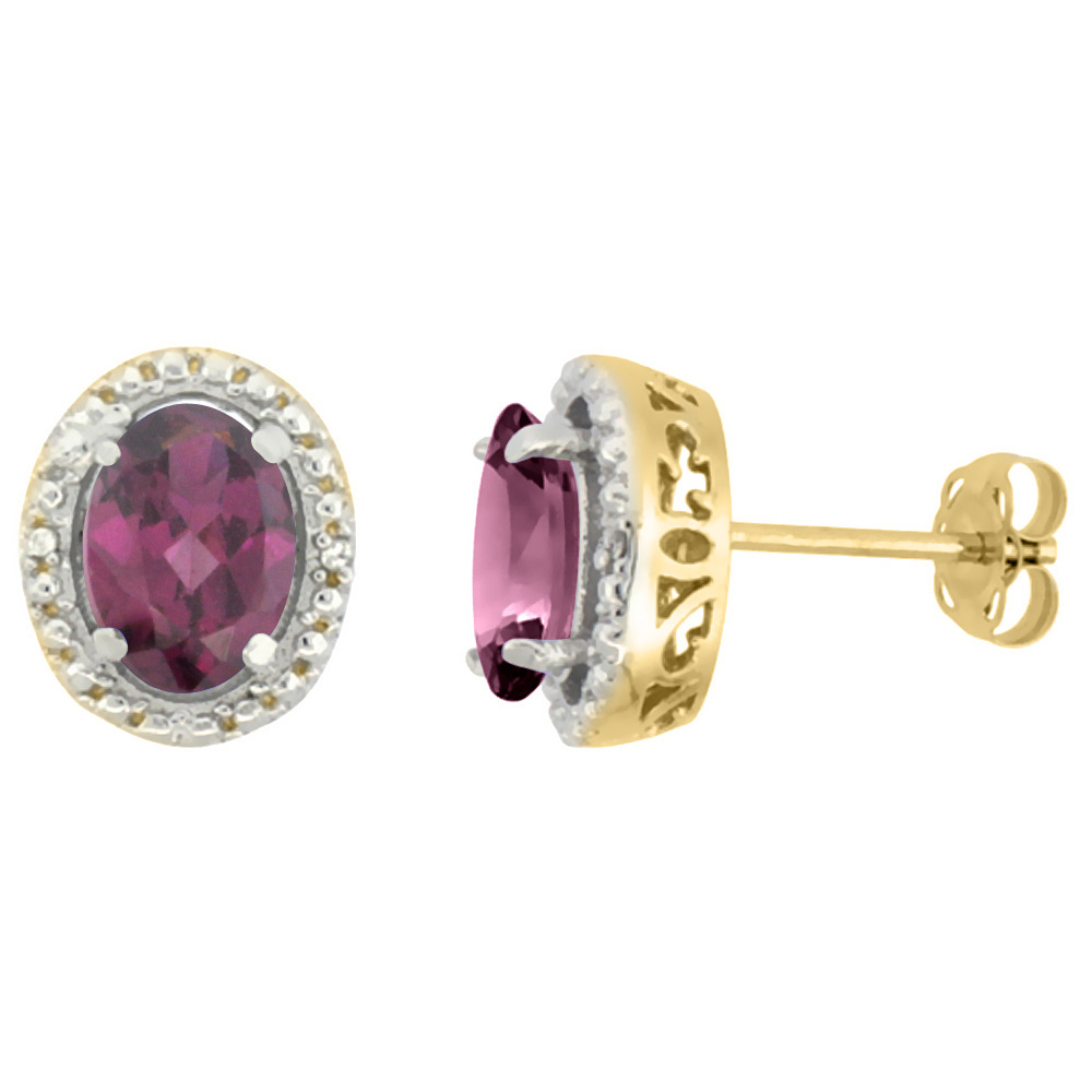 10K Yellow Gold 0.01 cttw Diamond Natural Rhodolite Post Earrings Oval 7x5 mm