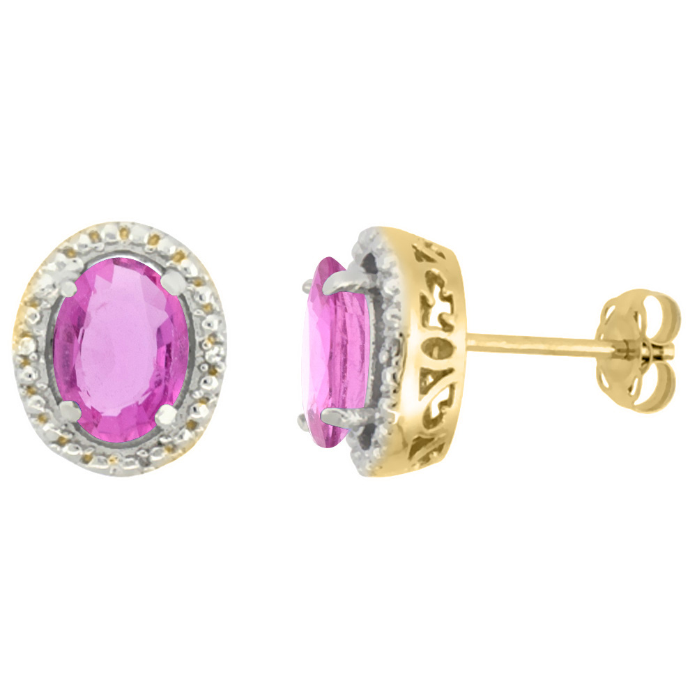 10K Yellow Gold 0.01 cttw Diamond Natural Pink Sapphire Post Earrings Oval 7x5 mm