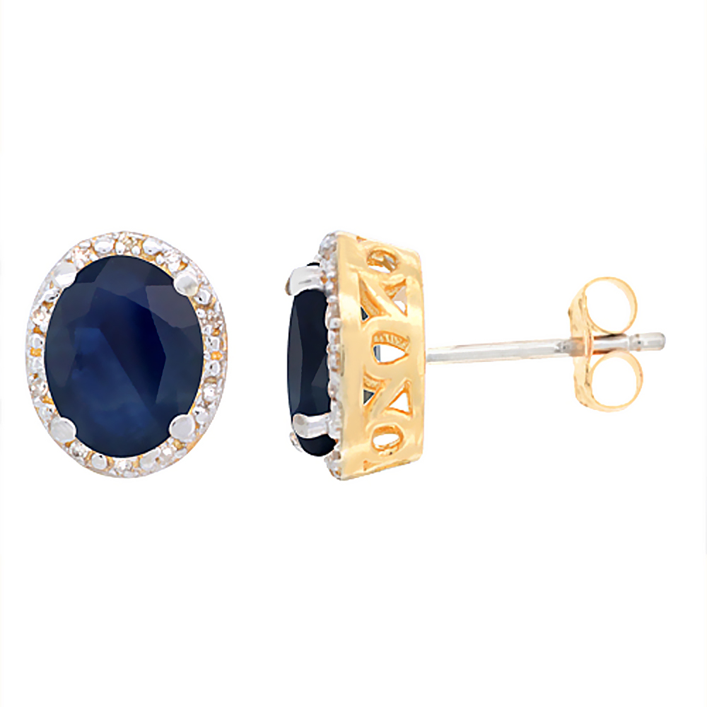 10K Yellow Gold Genuine Australian Sapphire Stud Earrings Diamond Halo Oval 8x6 mm