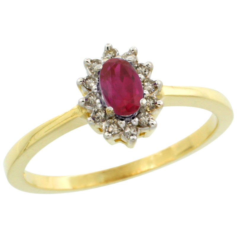 14k Gold ( 5x3 mm ) Halo Engagement Created Ruby Ring w/ 0.12 Carat Brilliant Cut Diamonds & 0.20 Carat Oval Cut Stone, 5/16 in. (8mm) wide