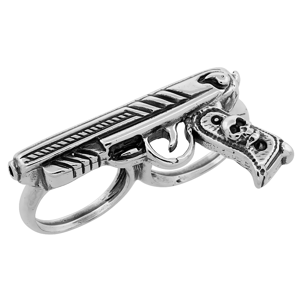 Sterling Silver Two Finger Gun Ring Colt 45, 1/4 inch wide