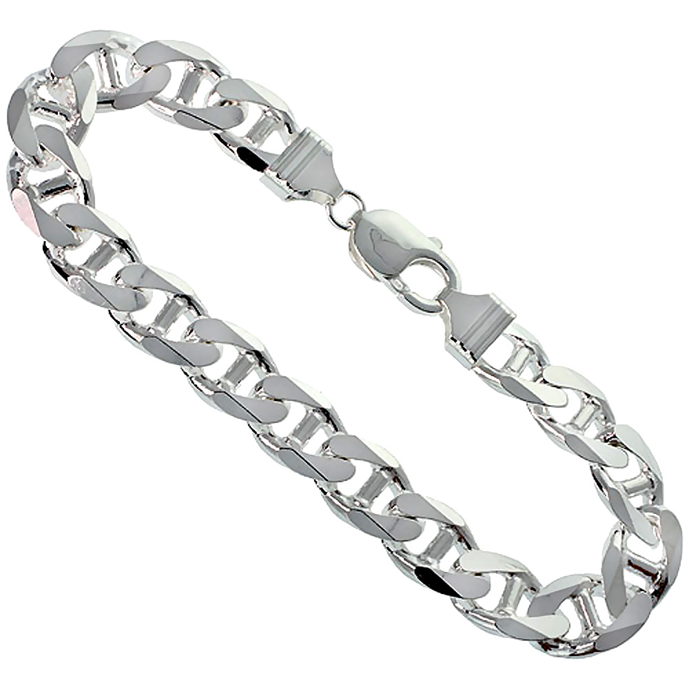Sterling Silver Flat Mariner Link Chain Necklaces & Bracelets 10.6mm Nickel Free Italy, sizes 8 - 30 inch
