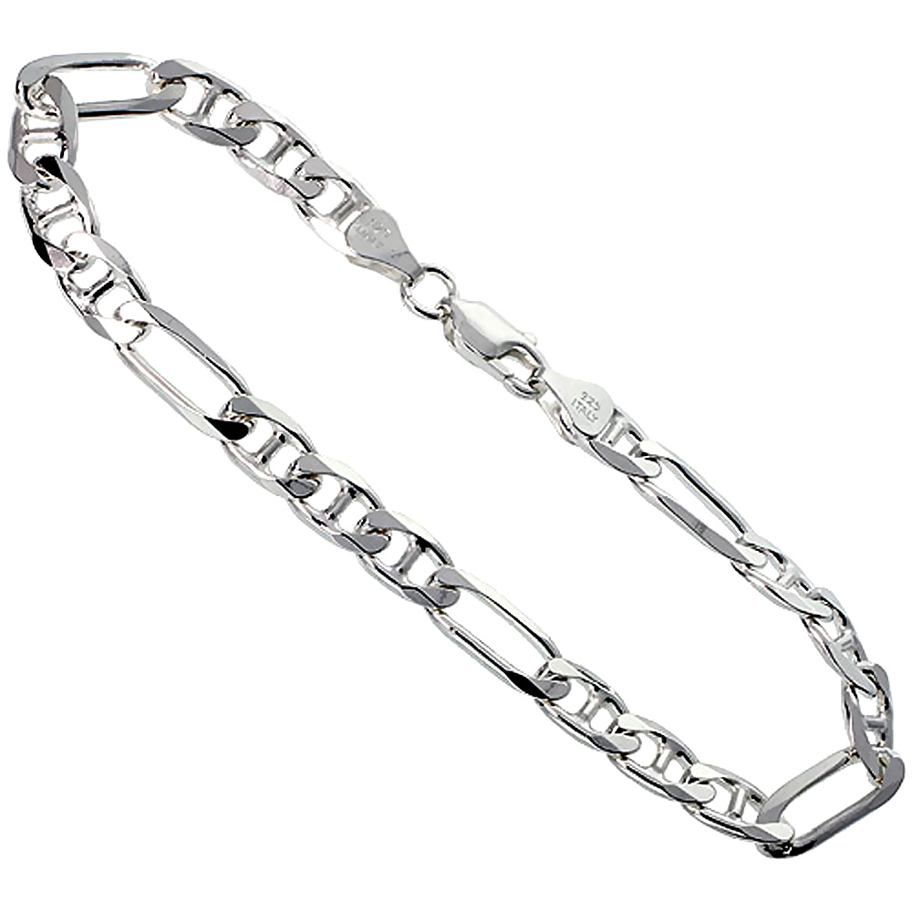 Sterling Silver Figarucci Link Chain Necklaces & Bracelets 6.6mm Beveled Nickel Free Italy, 7-30 inch