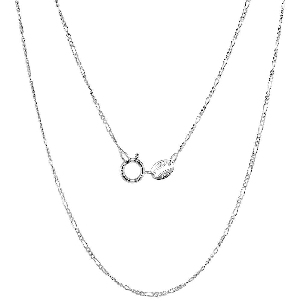 Sterling Silver Baby Figaro Link Chain Necklace 1mm Nickel Free Italy, sizes 16 - 18 inch
