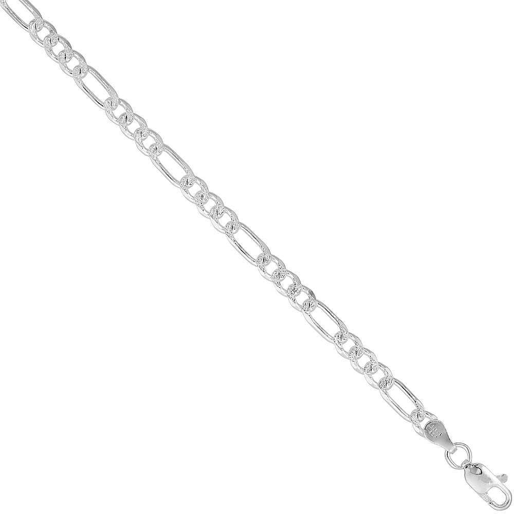 Sterling Silver Figaro Link Chain Necklace 4.5mm Pave Cut Beveled Nickel Free Italy, 7-30 inch