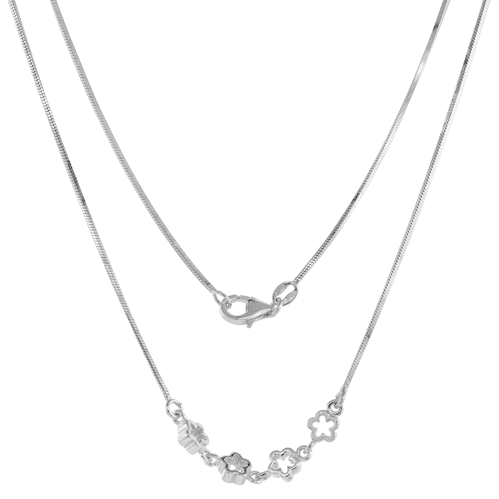 Sterling Silver Flower Necklace Bracelet Set for Women 4 cut-out Flowers Snake Chain 7-16 inch
