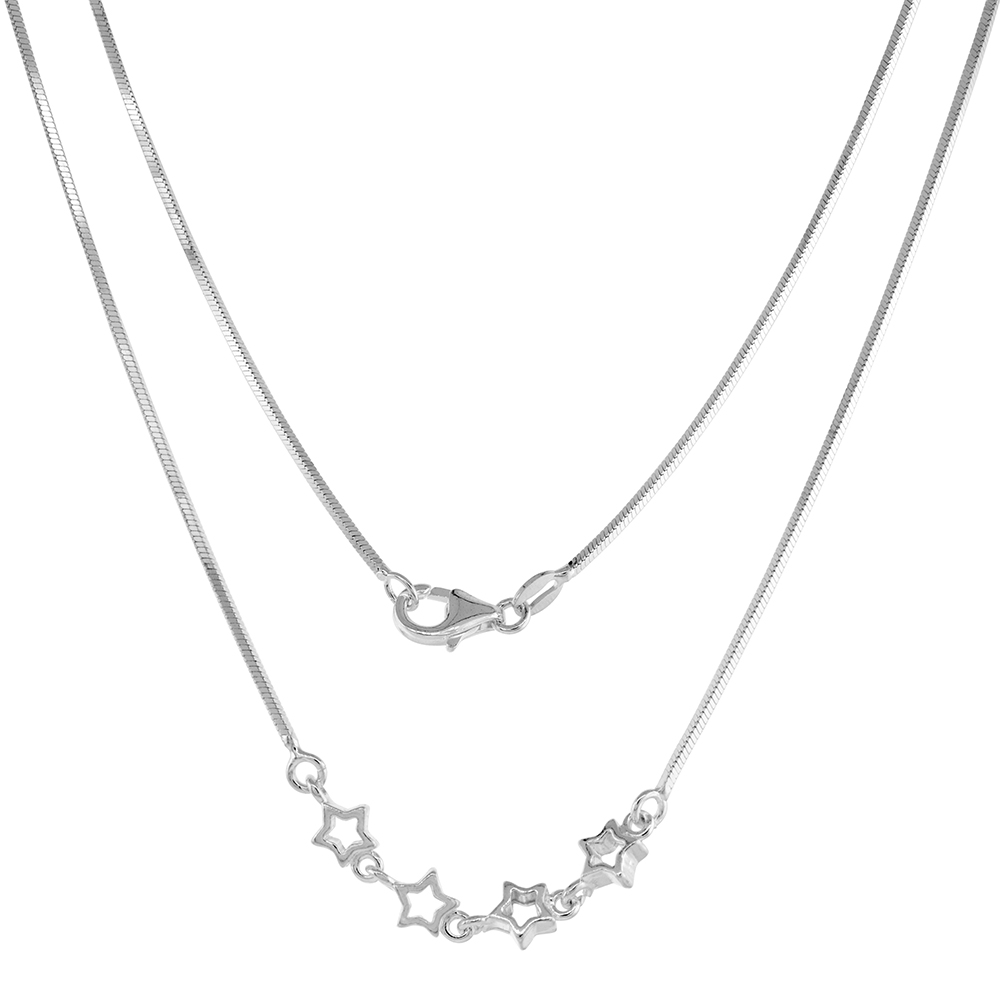 Sterling Silver Star Necklace Bracelet Set for Women 4 cut-out Stars Snake Chain 7-16 inch