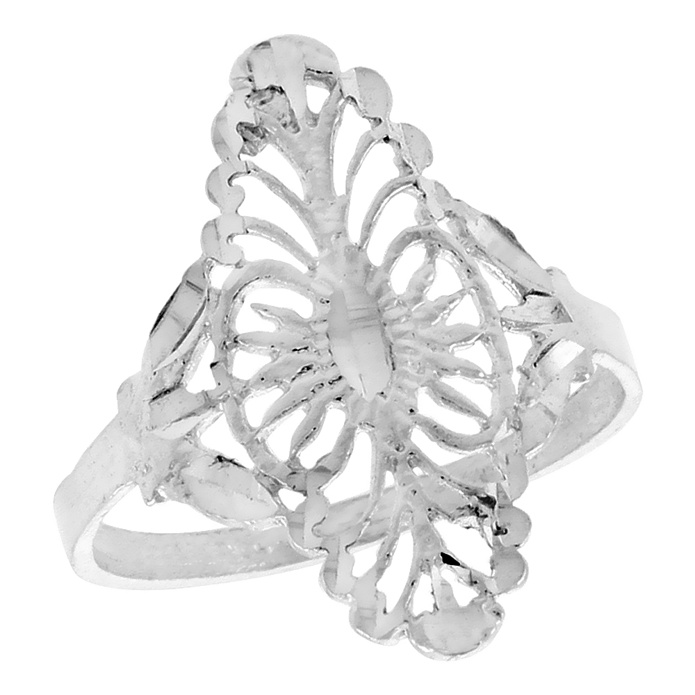 Sterling Silver Navette-shaped Filigree Ring, 1 inch