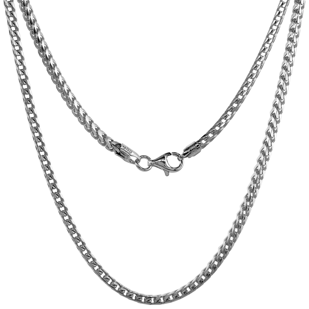 Sterling Silver 2.4mm Franco Chain Necklace for Men & Women Nickel Free Italy sizes 20 - 36 inch