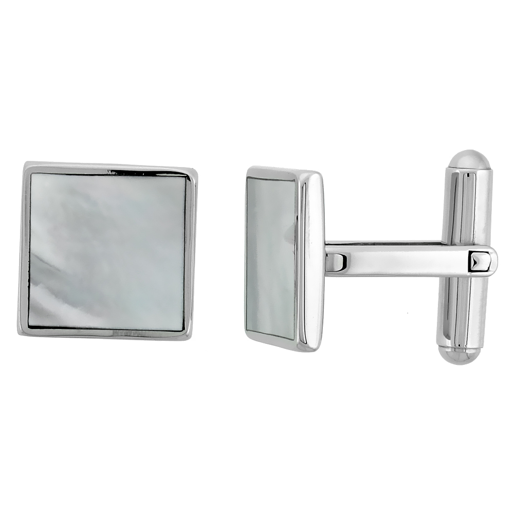 Stainless Steel Square Shape Cufflinks w/ Natural Mother of Pearl Inlay, 1/2 x 1/2 in.