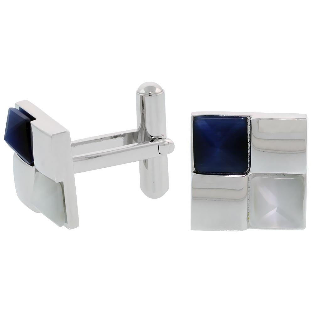 Stainless Steel Checkerboard Cufflinks, w/ Blue & White Pyramid Stones, 1/2 inch