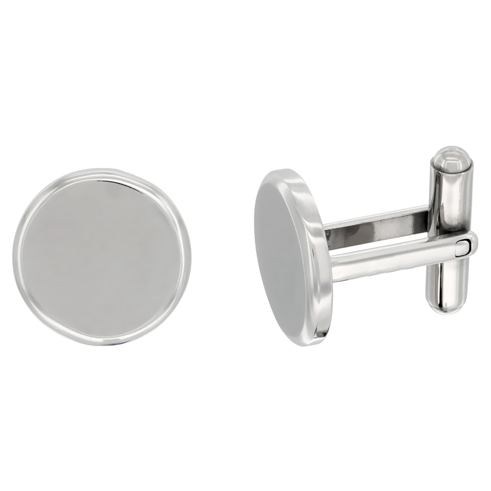 Stainless Steel Round Shape Cufflinks Matte finish Beveled Edge, 5/8 in.