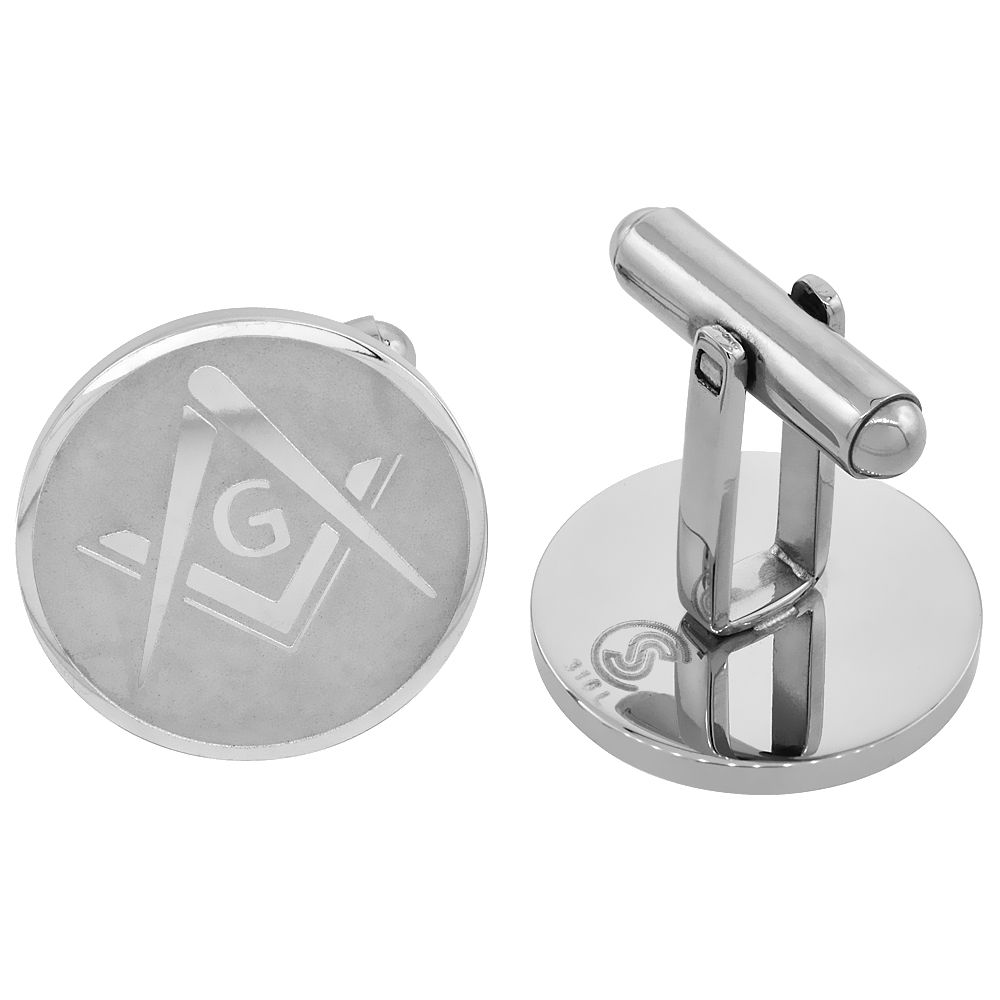 Stainless Steel Masonic Symbol Cufflinks Square and Compass Round Beveled Edge, 3/4 inches