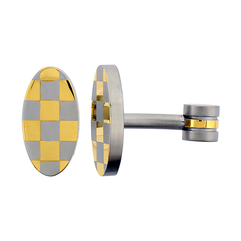 Stainless Steel Oval Shape Cufflinks Gold Plated Checkered Pattern