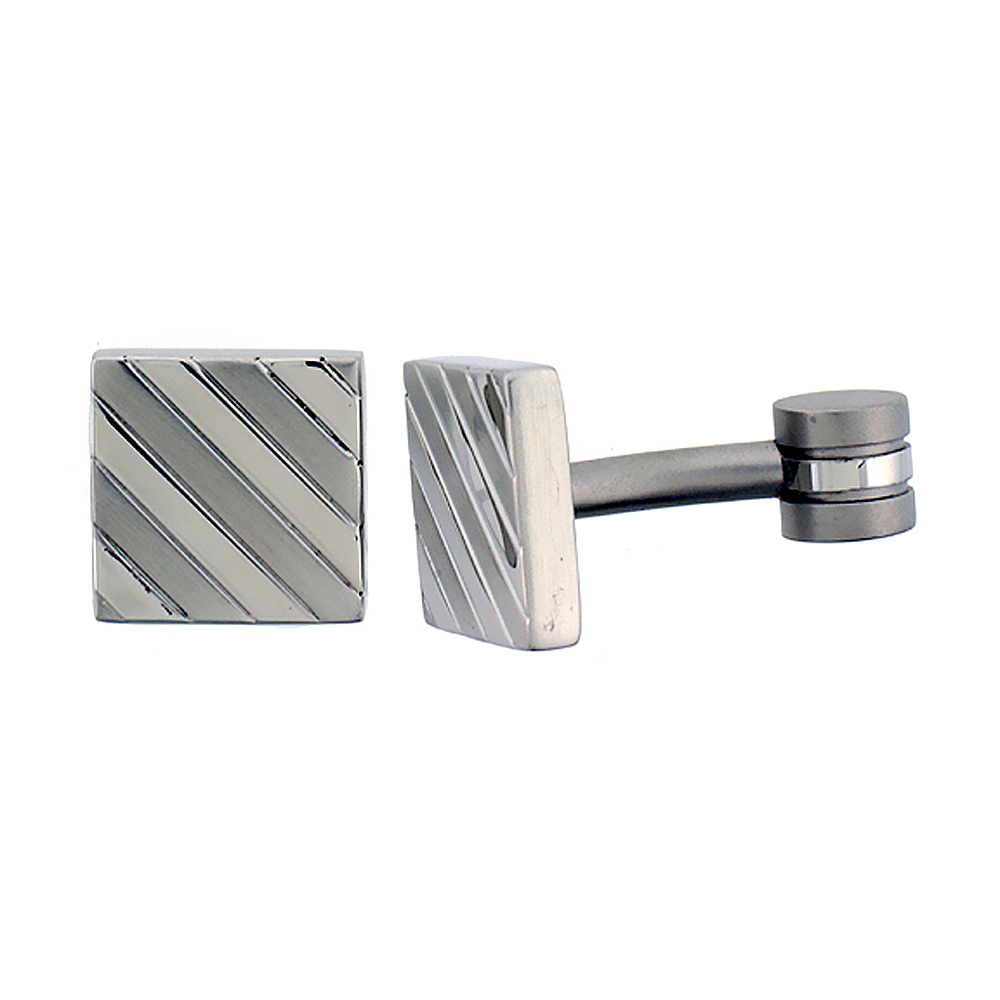 Stainless Steel Square Shape, Cufflinks Striped Pattern