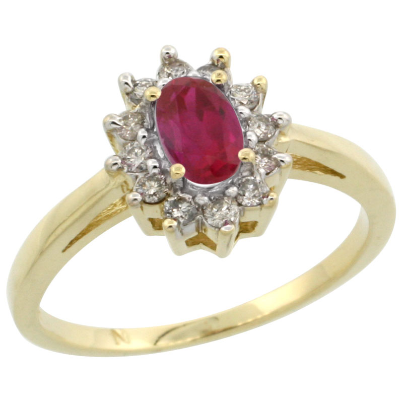 14k Gold ( 6x4 mm ) Halo Engagement Created Ruby Ring w/ 0.212 Carat Brilliant Cut Diamonds & 0.45 Carat Oval Cut Stone, 7/16 in. (11mm) wide