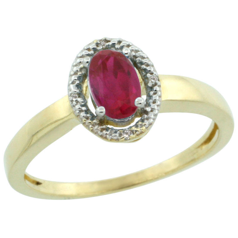 14k Gold ( 6x4 mm ) Halo Engagement Created Ruby Ring w/ 0.007 Carat Brilliant Cut Diamonds & 0.55 Carat Oval Cut Stone, 3/8 in. (9mm) wide