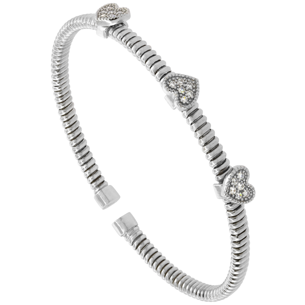 Sterling Silver Flexible Italian Small Cuff Heart Station Bangle Cubic Zirconia Accents 2 inches wide, fits most 6 - 7 wrists