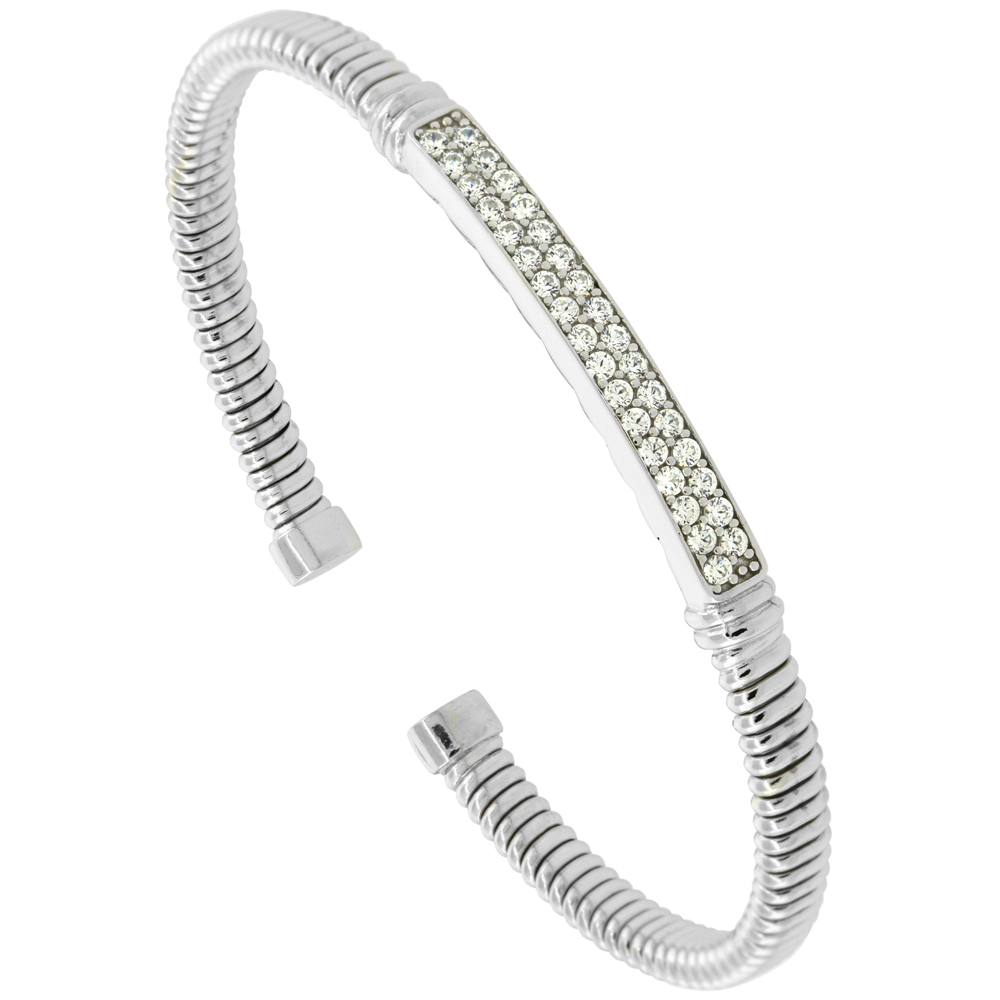 Sterling Silver Flexible Italian Small Bar Station Bangle Cubic Zirconia Accents 2 inches wide, fits most 6 - 7 wrists