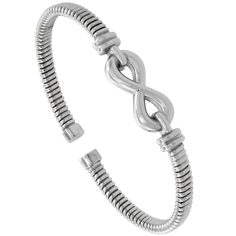 Sterling Silver Flexible Italian Eternity Small Cuff Bangle 2 inches wide, fits most 6 - 7 wrists