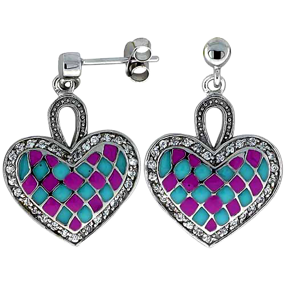 Sterling Silver Heart Dangle Earrings Pink & Blue Enamel Checkered pattern, 7/8 inch