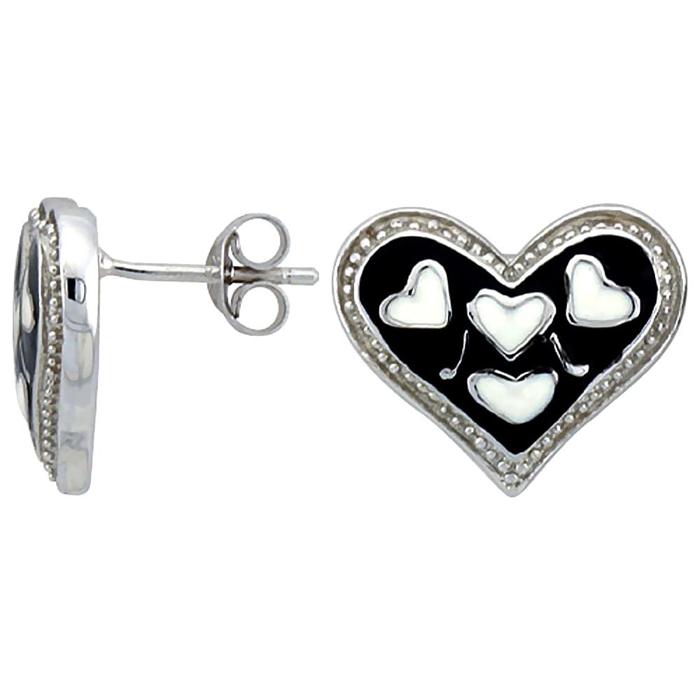 Sterling Silver Heart Post Earrings Black & White Enamel Rhodium finish 11/16 inch
