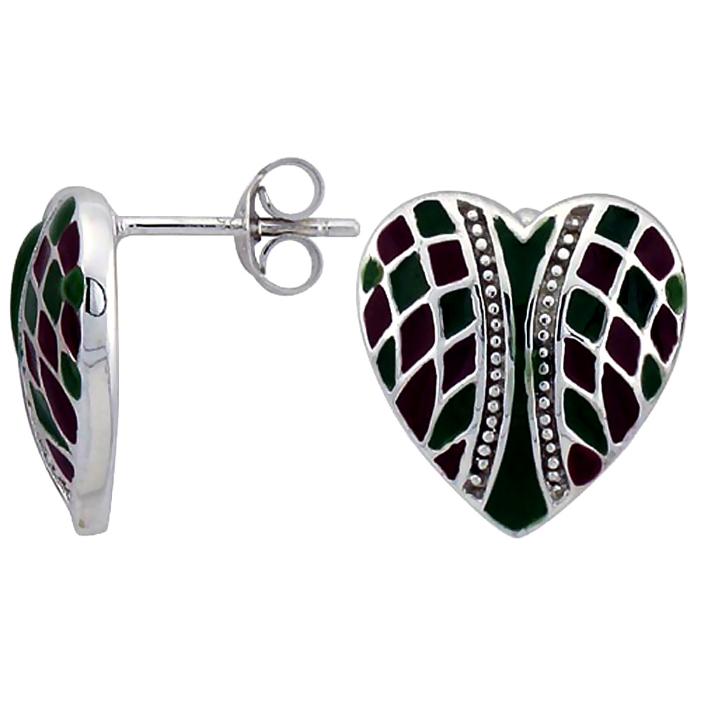 Sterling Silver Heart Post Earrings Green & Red Enamel Checkered pattern Rhodium finish, 1/2 inch