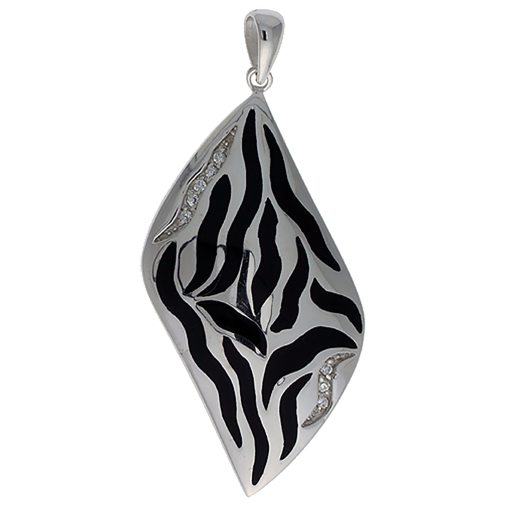 Sterling Silver Black Stripes Resin Pendant, 1 11/16 inch long
