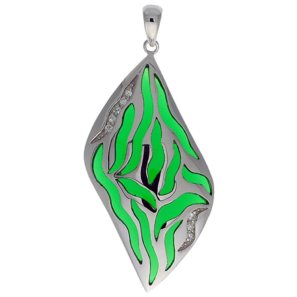 Sterling Silver Green Stripes Resin Pendant, 1 11/16 inch long